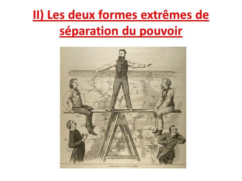 II) Les deux formes extrêmes de séparation du pouvoir