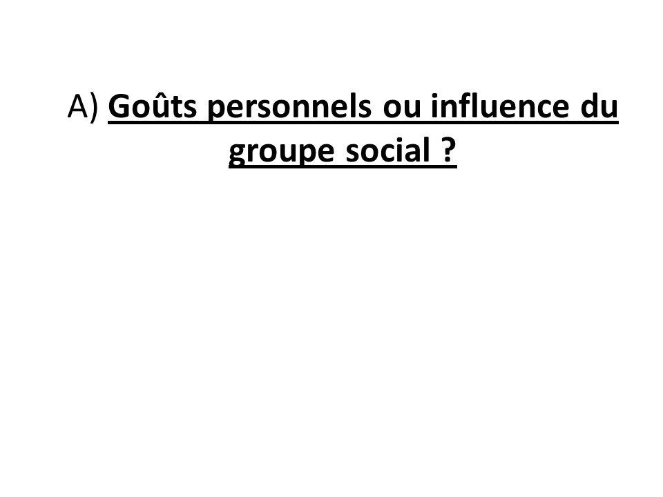 A) Goûts personnels ou influence du groupe social ?