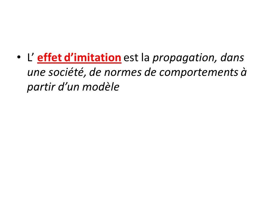 L effet dimitation est la propagation, dans une société, de normes de comportements à partir dun modèle