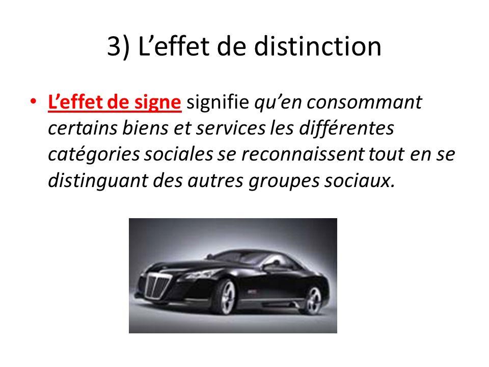 3) Leffet de distinction Leffet de signe signifie quen consommant certains biens et services les différentes catégories sociales se reconnaissent tout
