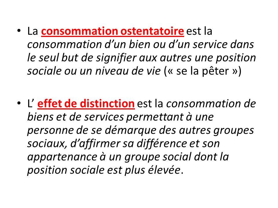 La consommation ostentatoire est la consommation dun bien ou dun service dans le seul but de signifier aux autres une position sociale ou un niveau de