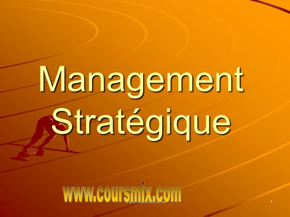 www.coursmix.com 12 On peut considérer que la stratégie est déduite des conditions de lenvironnement dans lequel lorganisation évolue; On peut également considérer que la stratégie est construite à partir des ressources et des compétences de lorganisation et quelle consiste à créer des opportunités nouvelles; La stratégie implique souvent des modifications majeures en termes de ressources Les décisions stratégiques peuvent influencer les décisions opérationnelles; La stratégie peut être considérée comme le reflet des attitudes et des croyances de ceux qui ont le plus dinfluence sur lorganisation.