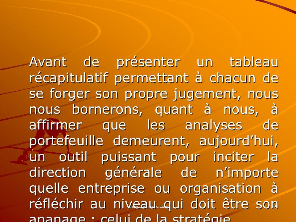 www.coursmix.com 100 Avant de présenter un tableau récapitulatif permettant à chacun de se forger son propre jugement, nous nous bornerons, quant à no