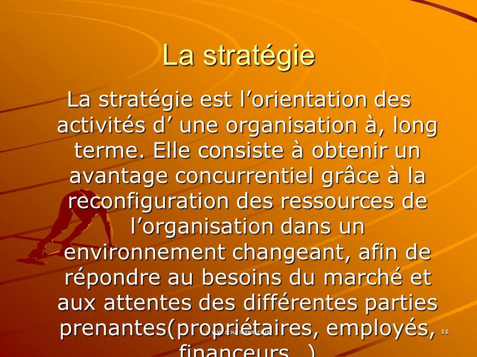 www.coursmix.com 11 La stratégie La stratégie est lorientation des activités d une organisation à, long terme. Elle consiste à obtenir un avantage con