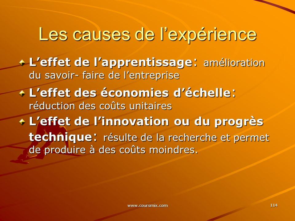 www.coursmix.com 114 Les causes de lexpérience Leffet de lapprentissage : amélioration du savoir- faire de lentreprise Leffet des économies déchelle :