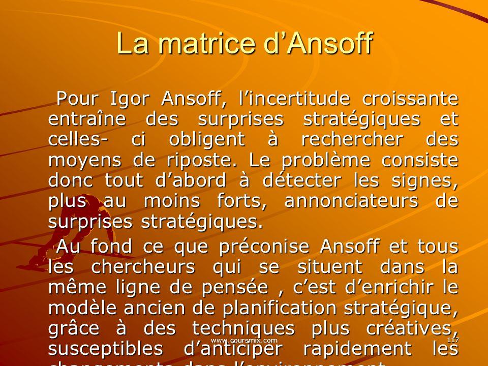 www.coursmix.com 117 Pour Igor Ansoff, lincertitude croissante entraîne des surprises stratégiques et celles- ci obligent à rechercher des moyens de r
