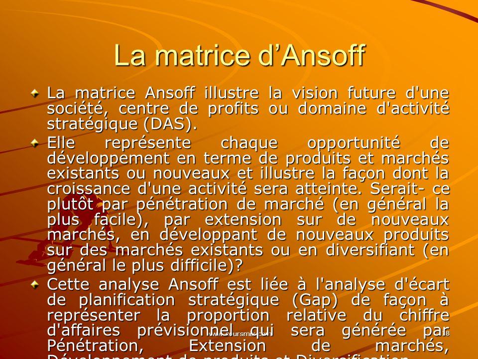 www.coursmix.com 118 La matrice dAnsoff La matrice Ansoff illustre la vision future d'une société, centre de profits ou domaine d'activité stratégique