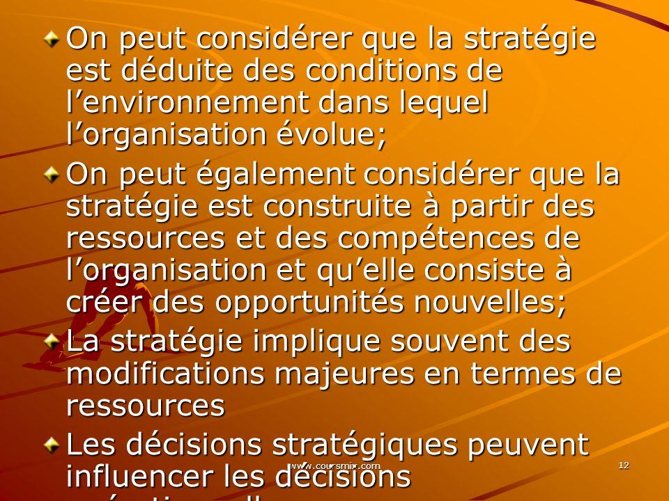 www.coursmix.com 12 On peut considérer que la stratégie est déduite des conditions de lenvironnement dans lequel lorganisation évolue; On peut égaleme