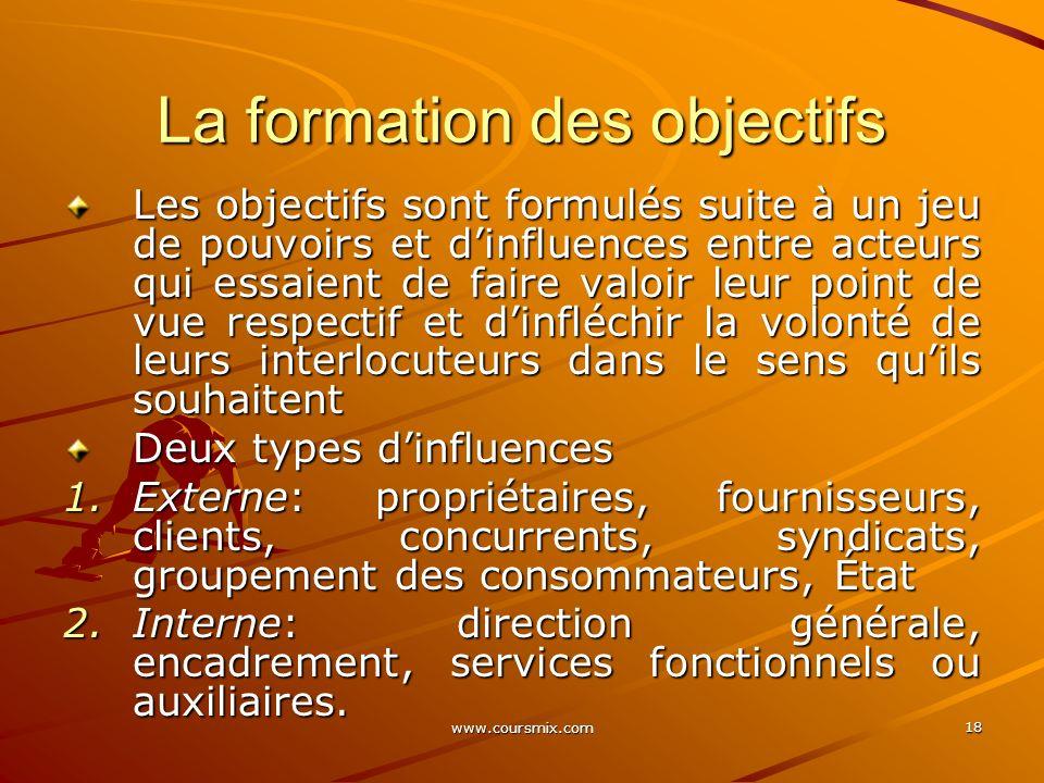 www.coursmix.com 18 La formation des objectifs Les objectifs sont formulés suite à un jeu de pouvoirs et dinfluences entre acteurs qui essaient de fai