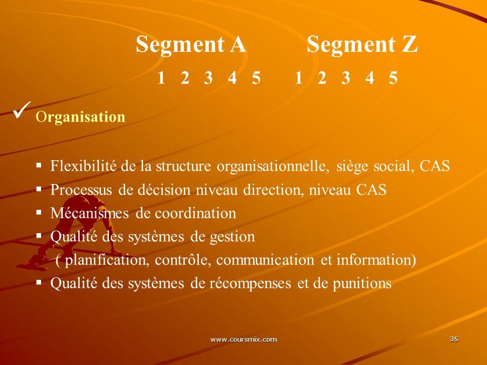 www.coursmix.com 35 Segment A Segment Z 1 2 3 4 5 Organisation Flexibilité de la structure organisationnelle, siège social, CAS Processus de décision