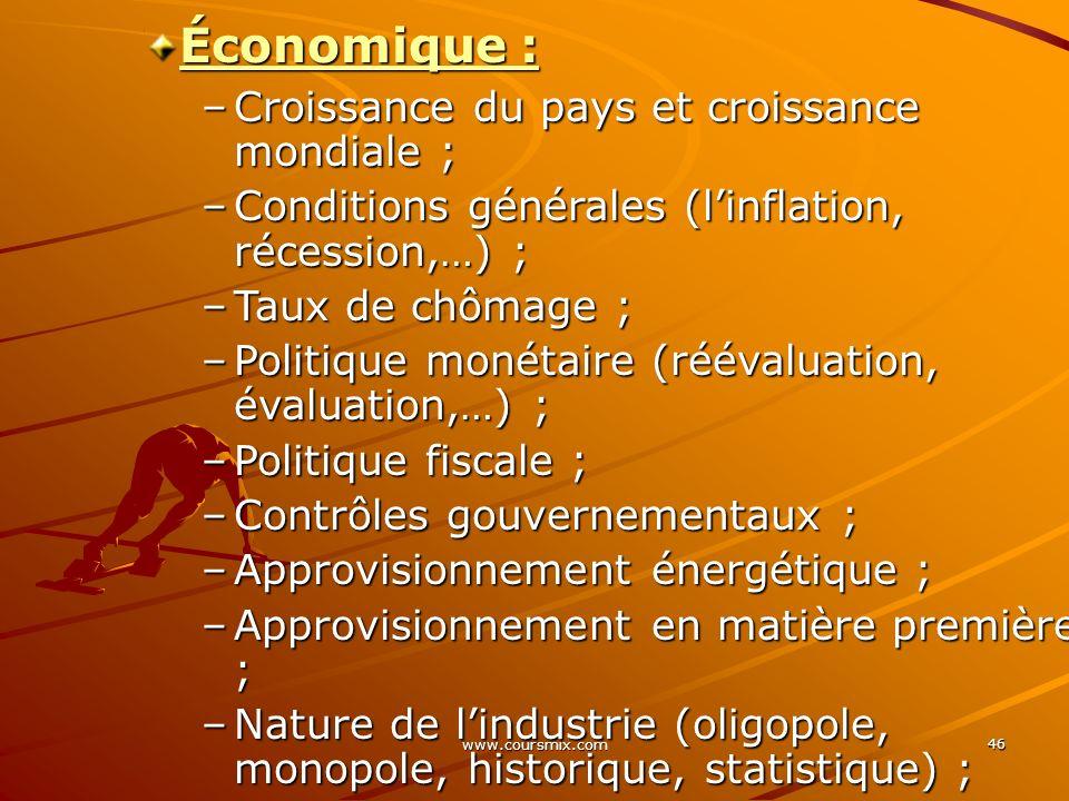 www.coursmix.com 46 Économique : –Croissance du pays et croissance mondiale ; –Conditions générales (linflation, récession,…) ; –Taux de chômage ; –Po