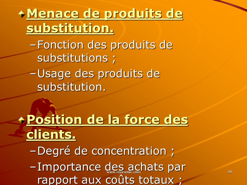www.coursmix.com 55 Menace de produits de substitution.