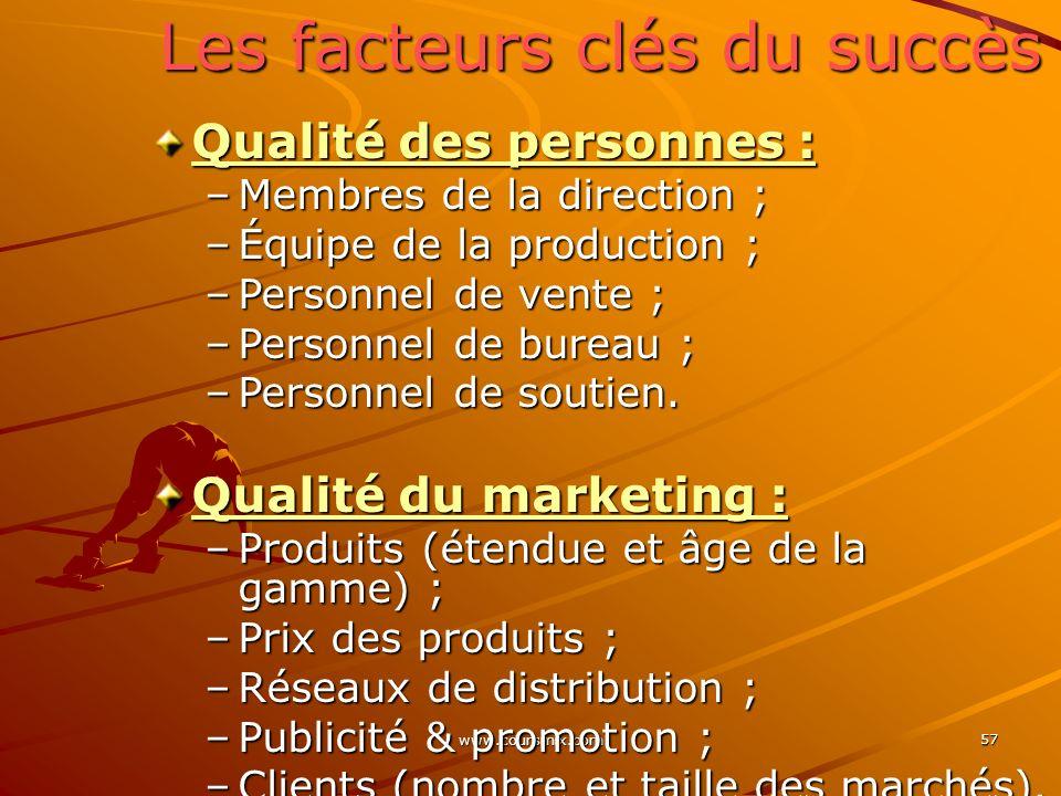 www.coursmix.com 57 Les facteurs clés du succès Qualité des personnes : –Membres de la direction ; –Équipe de la production ; –Personnel de vente ; –P