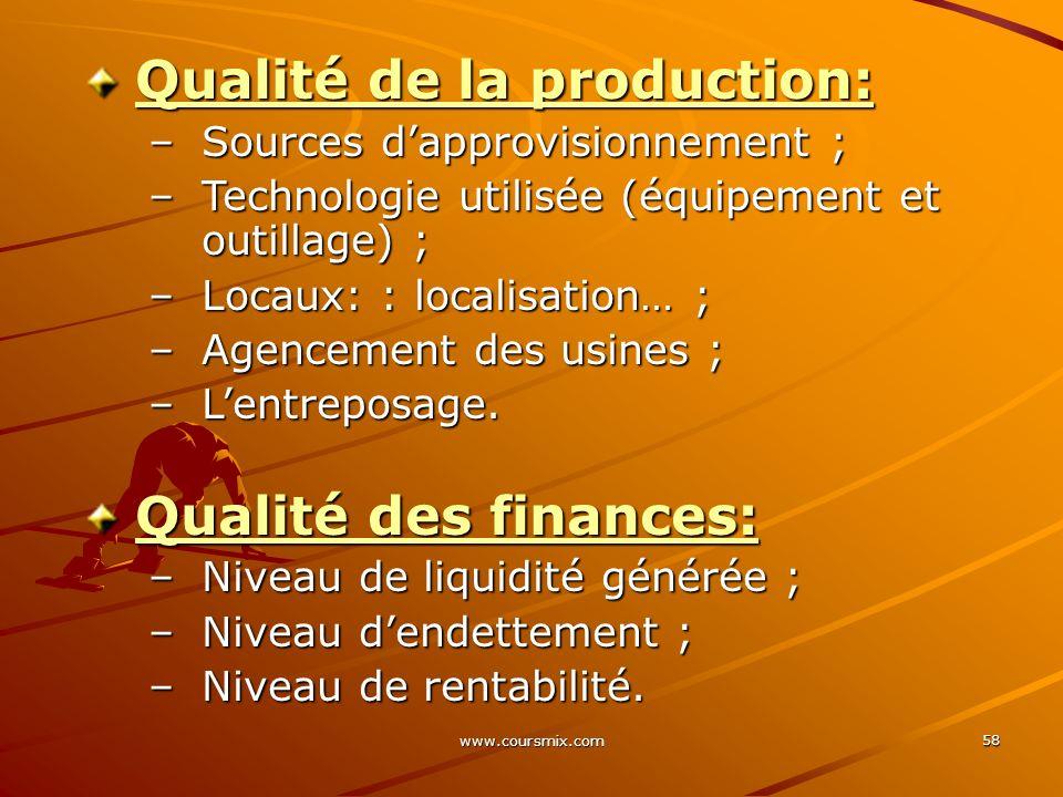 www.coursmix.com 58 Qualité de la production: –Sources dapprovisionnement ; –Technologie utilisée (équipement et outillage) ; –Locaux: : localisation…