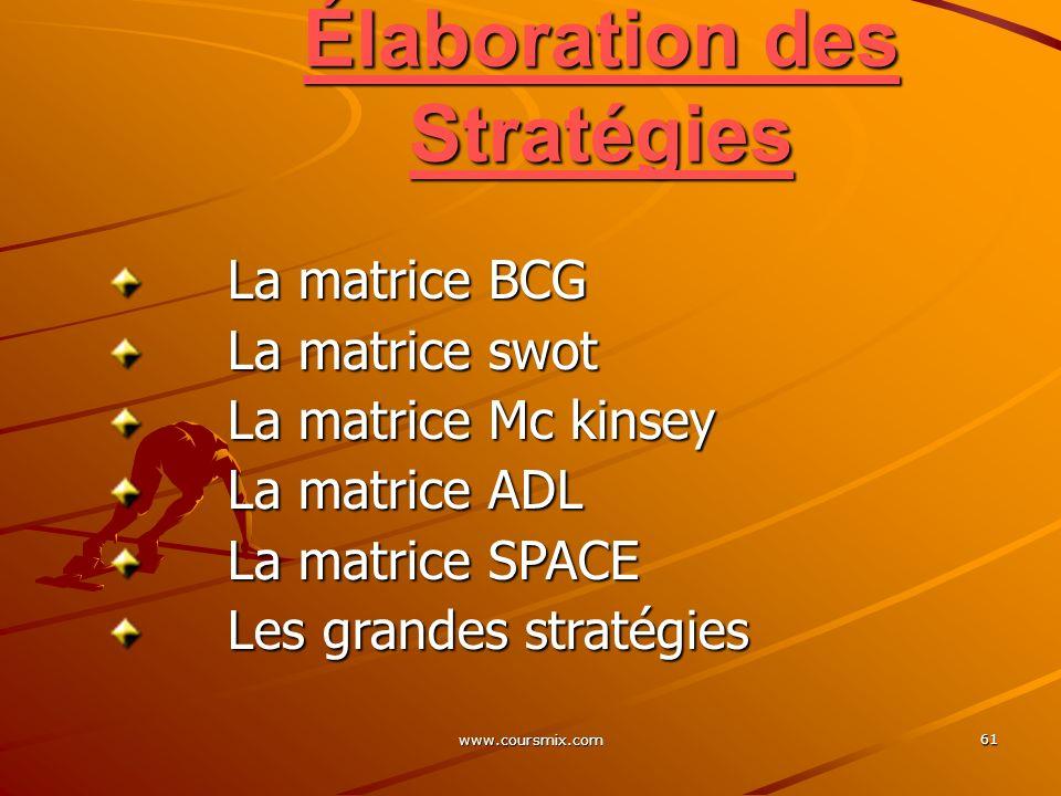 www.coursmix.com 61 Élaboration des Stratégies La matrice BCG La matrice BCG La matrice swot La matrice swot La matrice Mc kinsey La matrice Mc kinsey