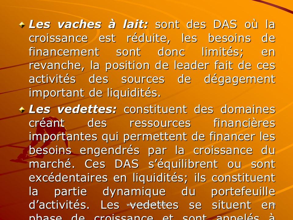 www.coursmix.com 64 Les vaches à lait: sont des DAS où la croissance est réduite, les besoins de financement sont donc limités; en revanche, la positi