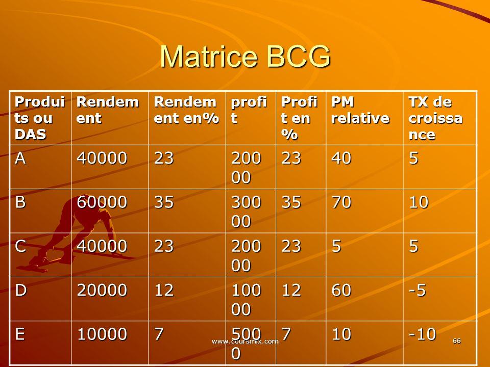 www.coursmix.com 66 Matrice BCG Produi ts ou DAS Rendem ent Rendem ent en% profi t Profi t en % PM relative TX de croissa nce A4000023 200 00 23405 B6