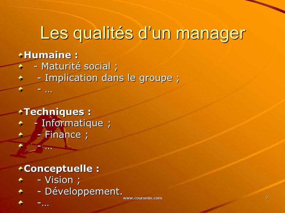 www.coursmix.com 8 Les qualités dun manager Conceptuelles Techniques Humaines Top managementMoyen managementManager de 1er niveau
