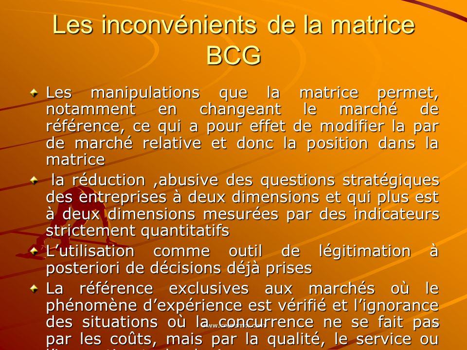 www.coursmix.com 70 Les inconvénients de la matrice BCG Les manipulations que la matrice permet, notamment en changeant le marché de référence, ce qui