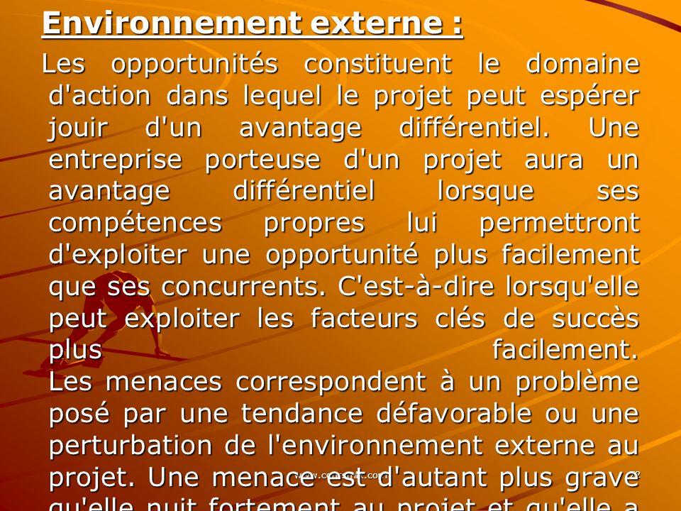 www.coursmix.com 72 Environnement externe : Les opportunités constituent le domaine d'action dans lequel le projet peut espérer jouir d'un avantage di