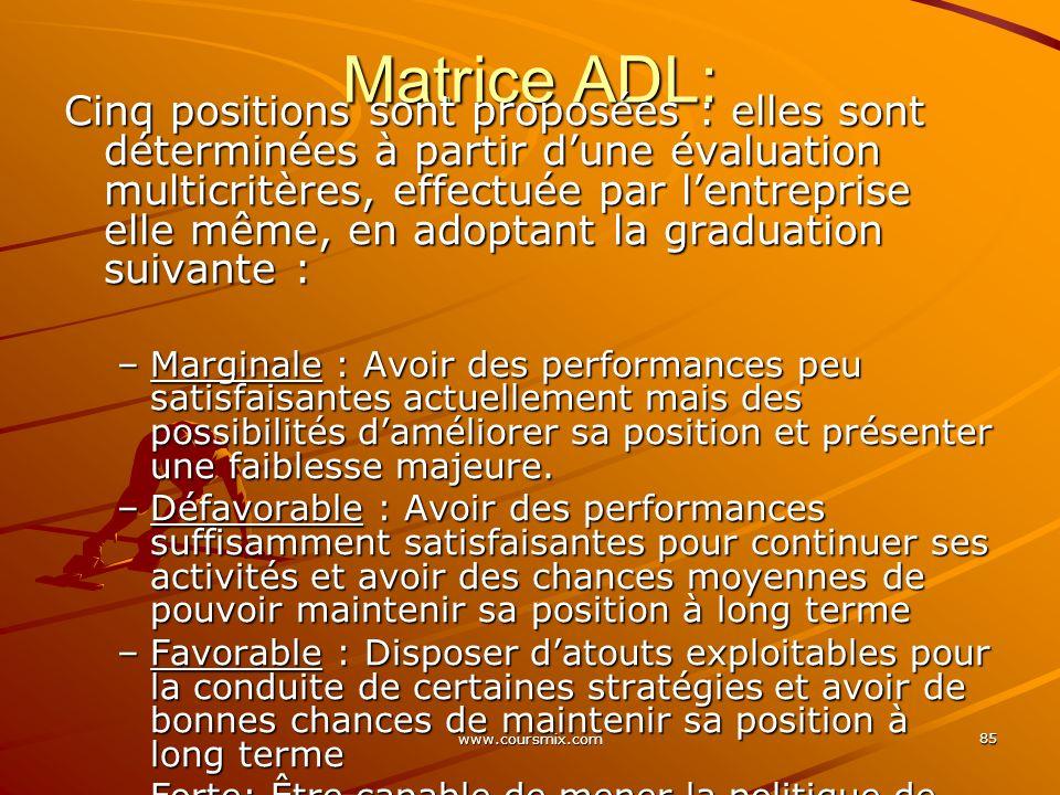 www.coursmix.com 85 Matrice ADL: Cinq positions sont proposées : elles sont déterminées à partir dune évaluation multicritères, effectuée par lentrepr