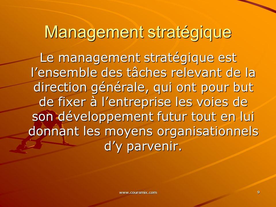 www.coursmix.com 9 Management stratégique Le management stratégique est lensemble des tâches relevant de la direction générale, qui ont pour but de fi