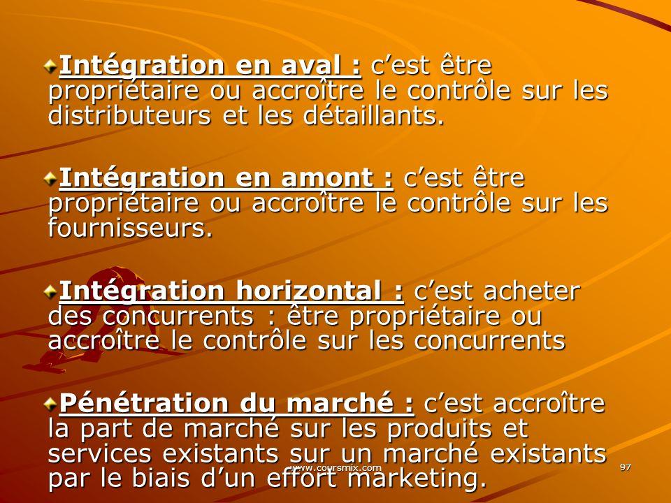 www.coursmix.com 97 Intégration en aval : cest être propriétaire ou accroître le contrôle sur les distributeurs et les détaillants. Intégration en amo