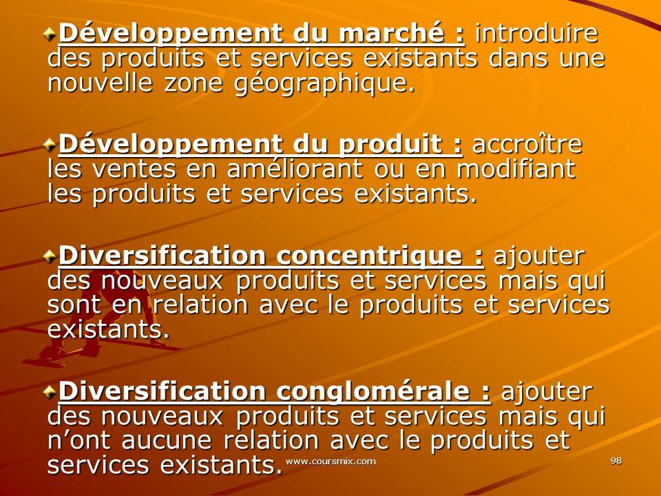 www.coursmix.com 98 Développement du marché : introduire des produits et services existants dans une nouvelle zone géographique. Développement du prod