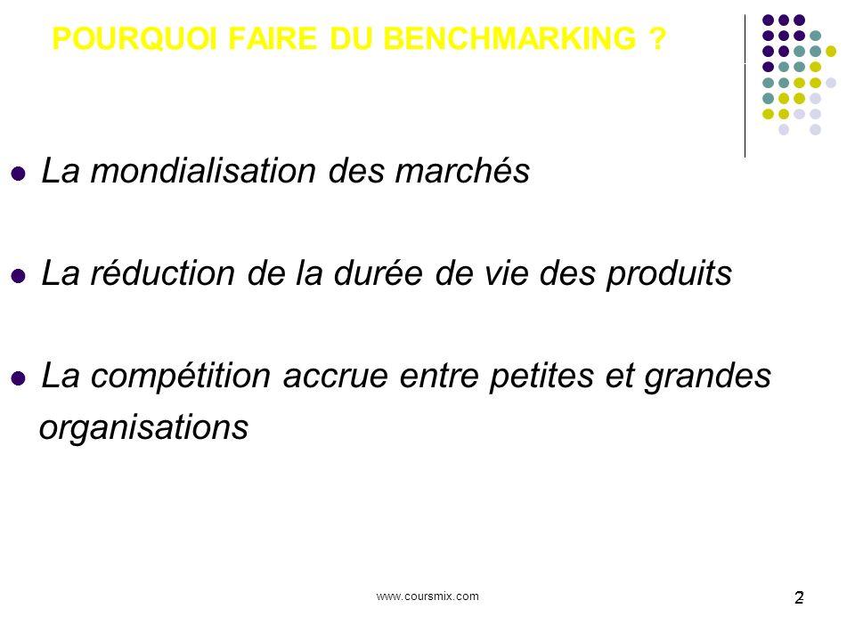 www.coursmix.com2 2 POURQUOI FAIRE DU BENCHMARKING ? La mondialisation des marchés La réduction de la durée de vie des produits La compétition accrue
