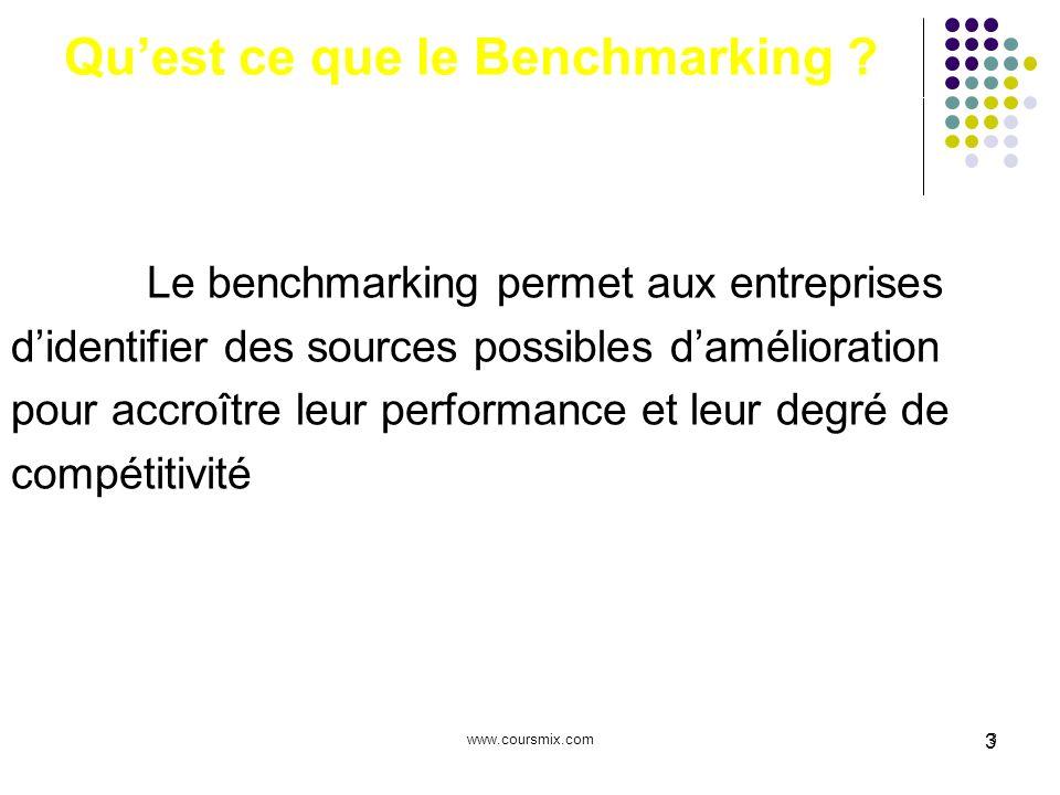 www.coursmix.com3 3 Quest ce que le Benchmarking ? Le benchmarking permet aux entreprises didentifier des sources possibles damélioration pour accroît
