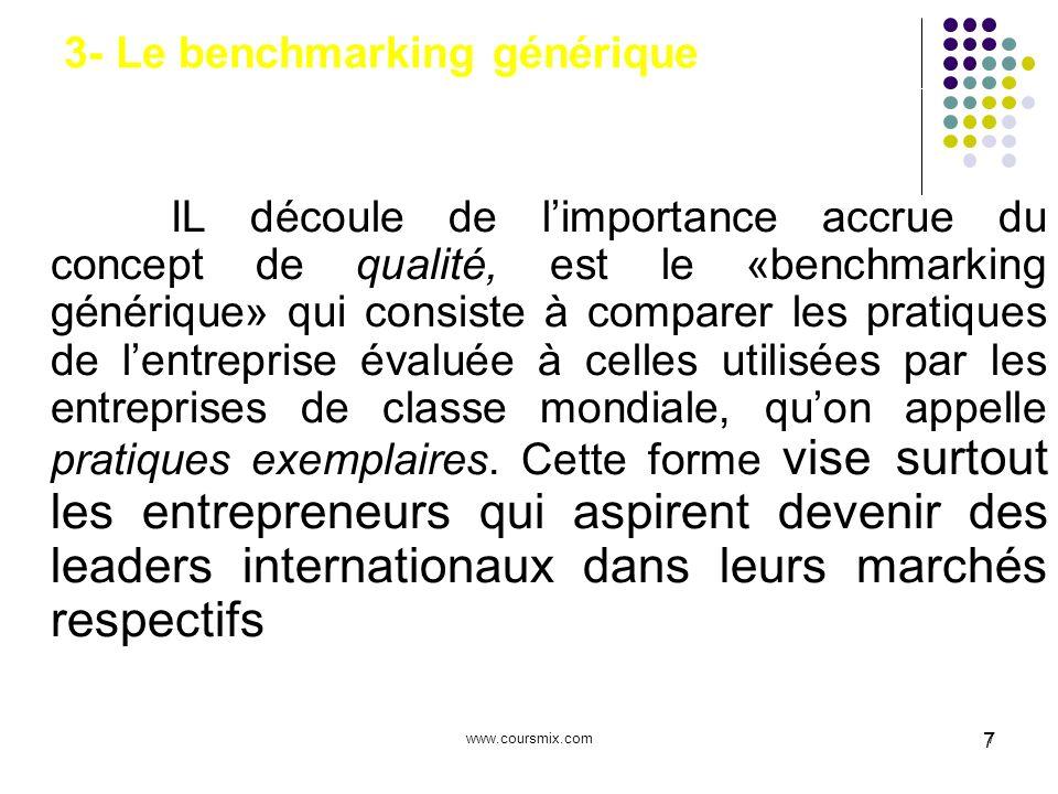 www.coursmix.com7 7 3- Le benchmarking générique IL découle de limportance accrue du concept de qualité, est le «benchmarking générique» qui consiste