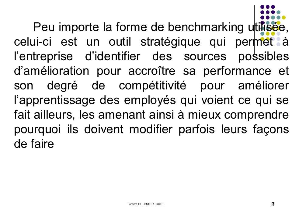 www.coursmix.com8 8 Peu importe la forme de benchmarking utilisée, celui-ci est un outil stratégique qui permet à lentreprise didentifier des sources