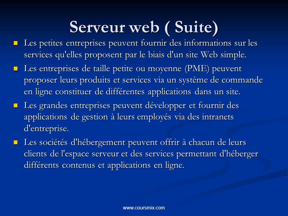 www.coursmix.com Serveur web ( Suite) Les petites entreprises peuvent fournir des informations sur les services qu elles proposent par le biais d un site Web simple.