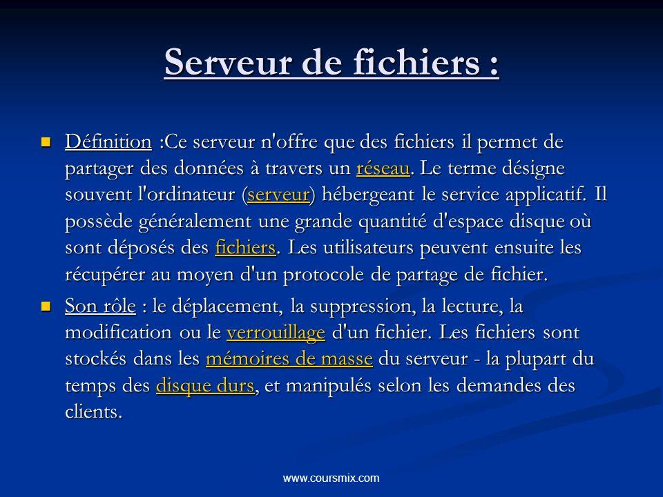 www.coursmix.com Serveur de fichiers : Définition :Ce serveur n offre que des fichiers il permet de partager des données à travers un réseau.