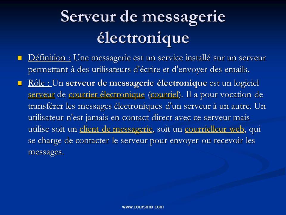 www.coursmix.com Serveur de messagerie électronique Définition : Une messagerie est un service installé sur un serveur permettant à des utilisateurs d écrire et d envoyer des emails.