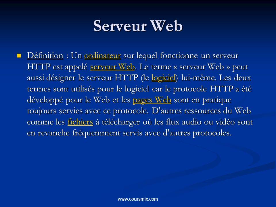 www.coursmix.com Serveur Web ( Suite) Rôle : Rôle : Fournir des informations à des utilisateurs sur Internet ; Fournir des informations à des utilisateurs sur Internet ; Permettre aux utilisateurs de télécharger du contenu avec FTP Permettre aux utilisateurs de télécharger du contenu avec FTP Héberger des services Web contenant de la logique métier pour des applications à trois niveaux.