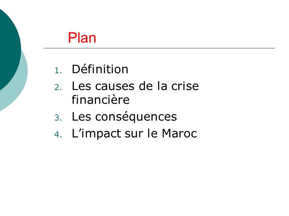 Plan 1. Définition 2. Les causes de la crise financière 3. Les conséquences 4. Limpact sur le Maroc
