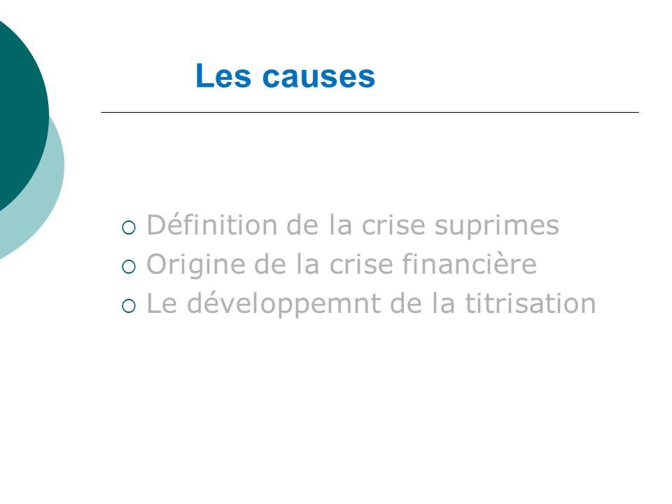 Les causes Définition de la crise suprimes Origine de la crise financière Le développemnt de la titrisation