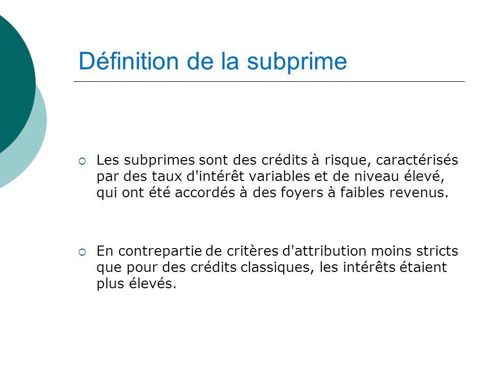 Définition de la subprime Les subprimes sont des crédits à risque, caractérisés par des taux d'intérêt variables et de niveau élevé, qui ont été accor