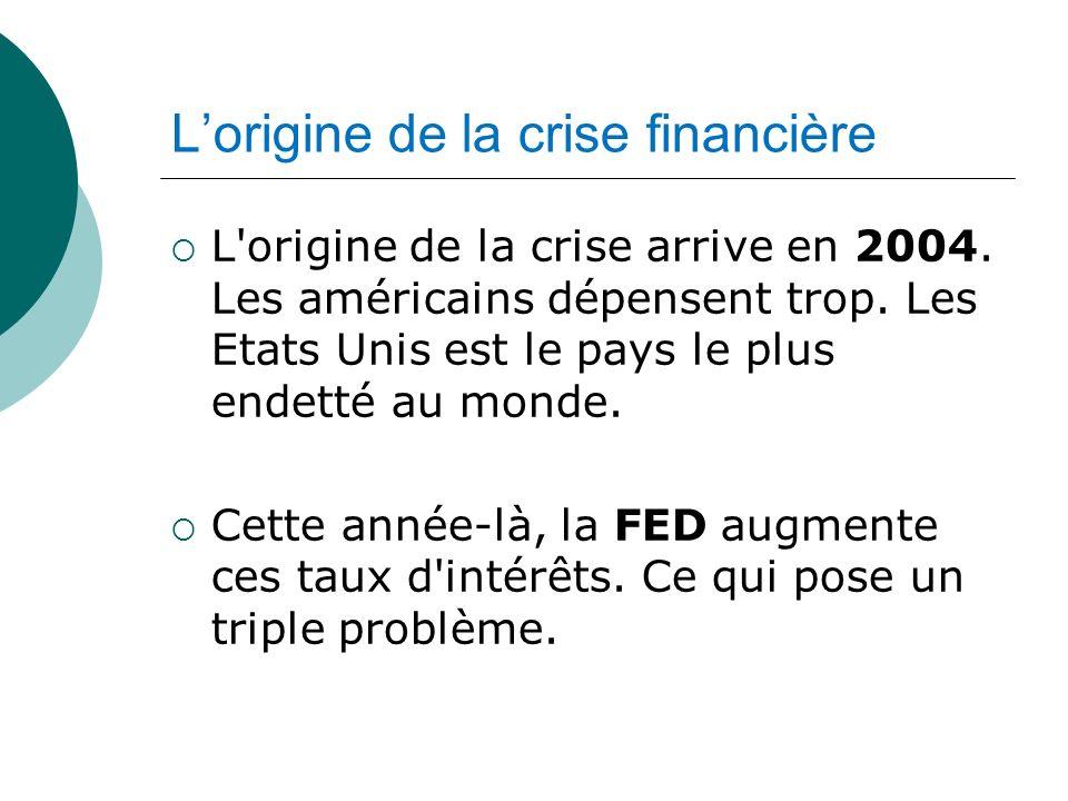 Lorigine de la crise financière L'origine de la crise arrive en 2004. Les américains dépensent trop. Les Etats Unis est le pays le plus endetté au mon