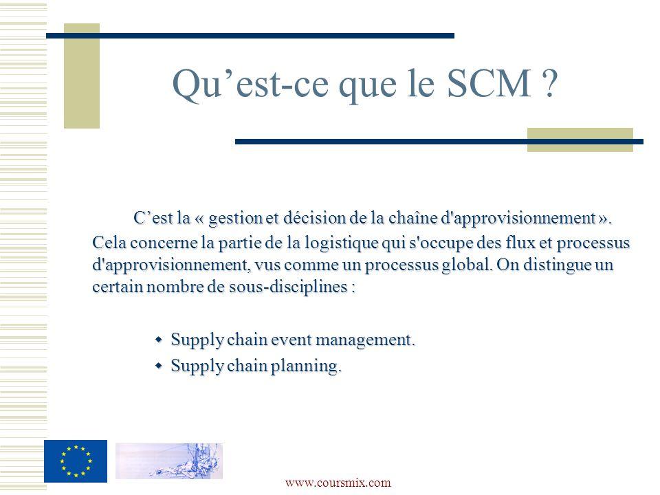 www.coursmix.com Quest-ce que le SCM ? Cest la « gestion et décision de la chaîne d'approvisionnement ». Cela concerne la partie de la logistique qui