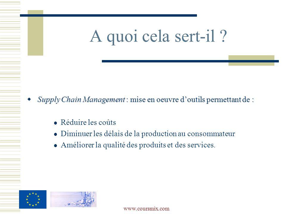 www.coursmix.com Supply Chain Management :mise en oeuvre doutils permettant de : Supply Chain Management : mise en oeuvre doutils permettant de : Réduire les coûts Diminuer les délais de la production au consommateur Améliorer la qualité des produits et des services.
