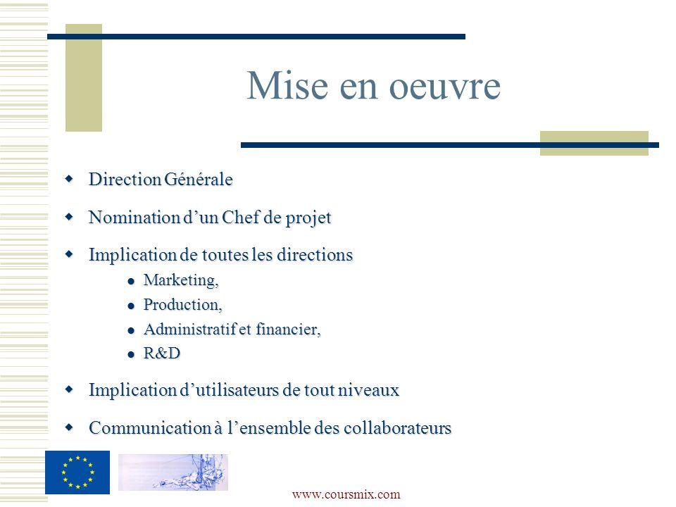 www.coursmix.com Direction Générale Direction Générale Nomination dun Chef de projet Nomination dun Chef de projet Implication de toutes les direction