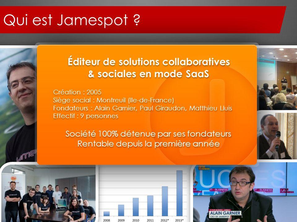 Qui est Jamespot ? Éditeur de solutions collaboratives & sociales en mode SaaS Création : 2005 Siège social : Montreuil (Ile-de-France) Fondateurs : A