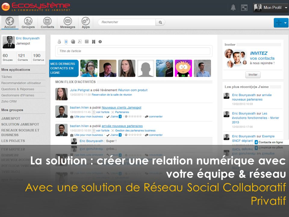 La solution : créer une relation numérique avec votre équipe & réseau Avec une solution de Réseau Social Collaboratif Privatif