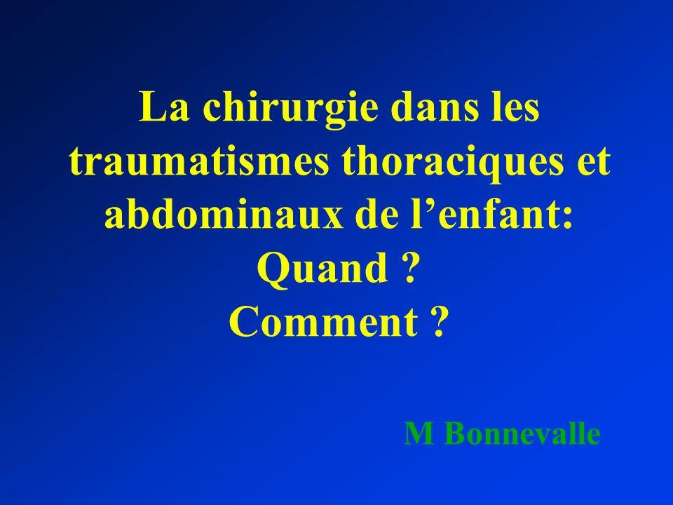 La chirurgie dans les traumatismes thoraciques et abdominaux de lenfant: Quand ? Comment ? M Bonnevalle