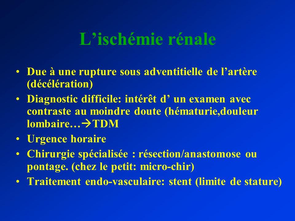 Lischémie rénale Due à une rupture sous adventitielle de lartère (décélération) Diagnostic difficile: intérêt d un examen avec contraste au moindre do