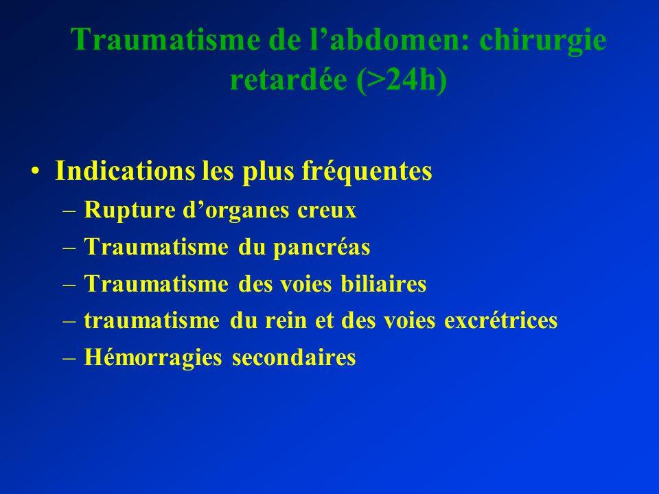 Traumatisme de labdomen: chirurgie retardée (>24h) Indications les plus fréquentes –Rupture dorganes creux –Traumatisme du pancréas –Traumatisme des v