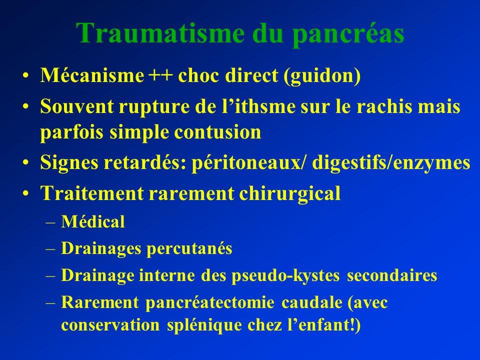 Traumatisme du pancréas Mécanisme ++ choc direct (guidon) Souvent rupture de lithsme sur le rachis mais parfois simple contusion Signes retardés: péri