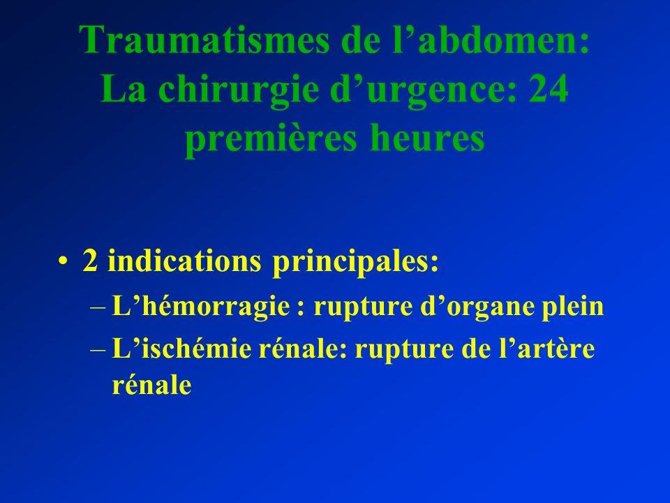 Traumatismes de labdomen: La chirurgie durgence: 24 premières heures 2 indications principales: –Lhémorragie : rupture dorgane plein –Lischémie rénale